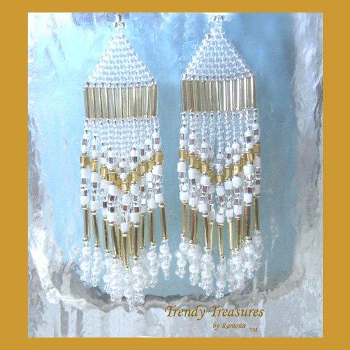 Gold & White Beaded Dangle Earrings, Native American Style,#TrendyTreasuresByRamona