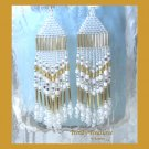 Gold & White Beaded Dangle Earrings, Native American Style,#TrendyTreasuresByRamona