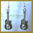 Gold 3-D Skull Guitar Earrings, Tibet silver charms, #TrendyTreasuresByRamona,