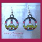 Peace Sign Earrings, Colored Inlays,Tibet silver charm, #TrendyTreasuresByRamona,