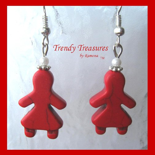 Red Little Girls Earrings,Adorable Magnesite Shape Earrings, #TrendyTreasuresByRamona