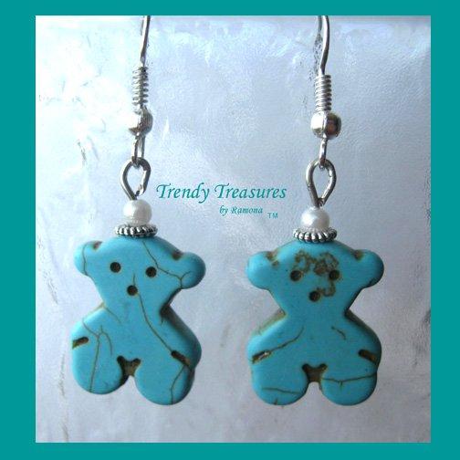 Turquoise Teddy Bears, Adorable Magnesite Shape Earrings, #TrendyTreasuresByRamona