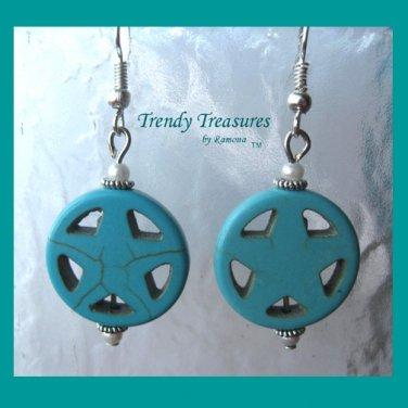 Turquoise Star in Circle, Adorable Magnesite Shape Earrings, #TrendyTreasuresByRamona
