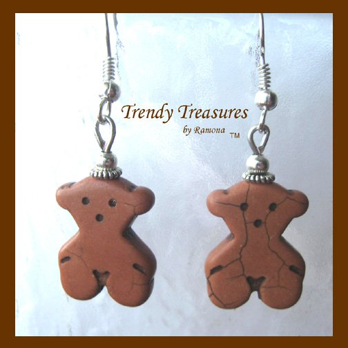 Brown Teddy Bears, Adorable Magnesite Shape Earrings, #TrendyTreasuresByRamona