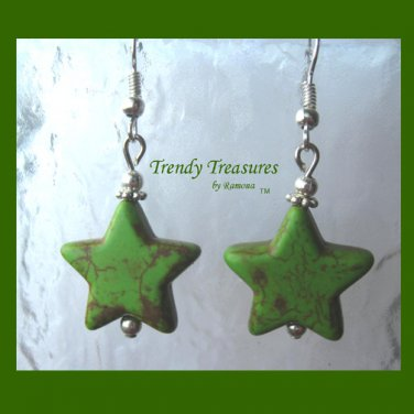 Adorable Magnesite Shape Earrings, Green Stars, #TrendyTreasuresByRamona