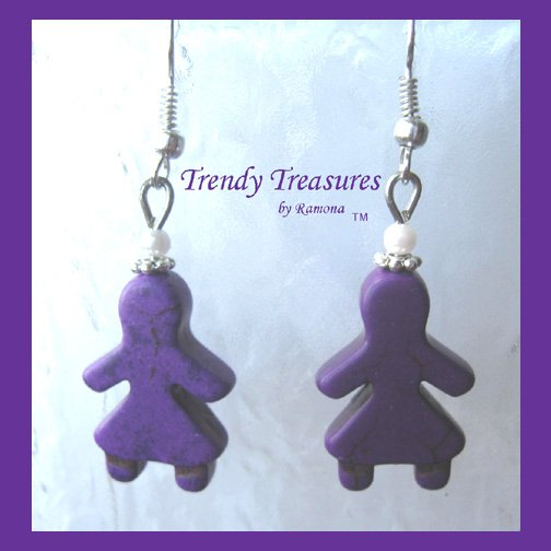 Adorable Magnesite Shape Earrings, Purple Little Girls, #TrendyTreasuresByRamona