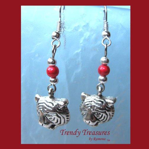 Tiger Head Charm Earrings,Red Miracle Beads,Tibet silver charms, #TrendyTreasuresByRamona,