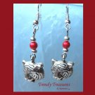Tiger Head Charm Earrings,Red Miracle Beads,Tibet silver charms, #TrendyTreasuresByRamona,