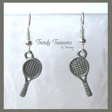 Tennis Racquet Earrings,Tibet Silver,Tennis Players,#TrendyTreasuresByRamona,