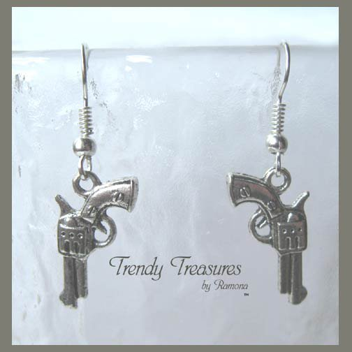 Small Pistol Earrings,Tibet Silver,Cowboy,Bandit, #TrendyTreasuresByRamona,