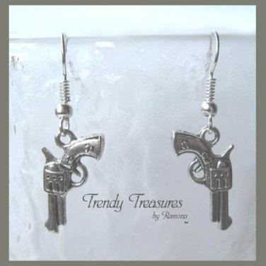 Small Pistol Earrings,Tibet Silver,Cowboy,Bandit, #TrendyTreasuresByRamona,