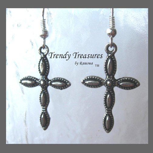 Cross Earrings,Black Oval Inlays,Tibet Silver, Charms,#TrendyTreasuresByRamona,