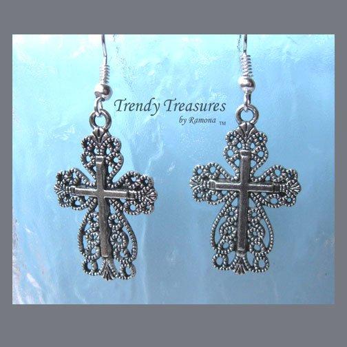 Celtic Scroll Style Cross Earrings,Tibet Silver, Charms,#TrendyTreasuresByRamona,