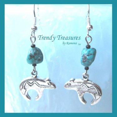 Heartline Bear Earrings,Tibet Silver,Turquoise Dangles, #TrendyTreasuresByRamona,