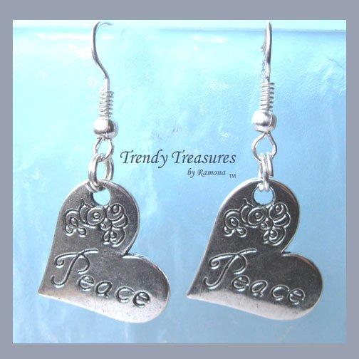 Peace Tilted Heart Flowers Earrings,Tibet silver charm, #TrendyTreasuresByRamona,