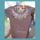 Sparkling Elegant Neckline,Lace,Bling Rhinestone Embellished T-shirt, New,Brown