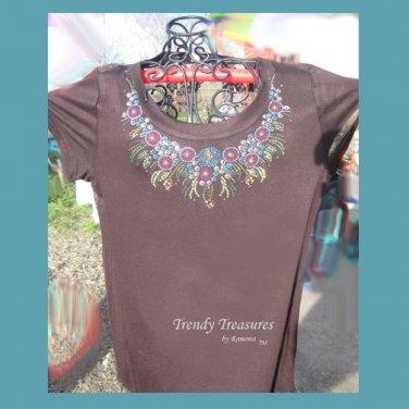 Sparkling Elegant Neckline,Lace,Bling Rhinestone Embellished T-shirt, New,Brown