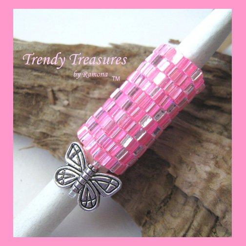 Pink Dreadlock Sleeve, Dread Bead, Braid Bead,Butterfly#TrendyTreasuresByRamona
