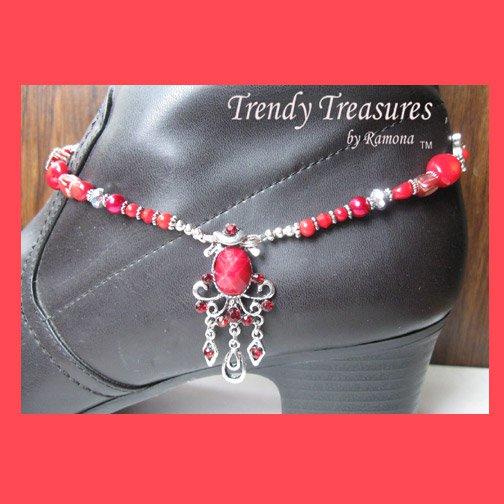 Boot Bracelet, Red Vintage Style, Boot Bling, #TrendyTreasuresByRamona