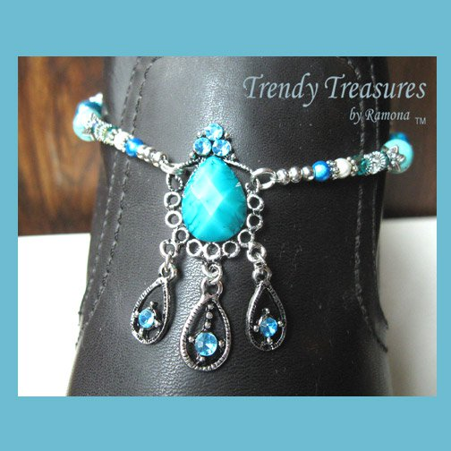 Turquoise Vintage Style Boot Bracelet, Boot Bling, #TrendyTreasuresByRamona