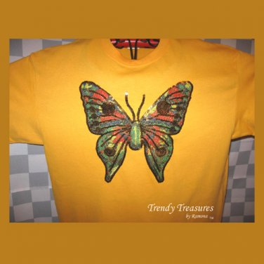Bling Rhinestone Embellished T-shirt,New,Gold,Butterfly Design