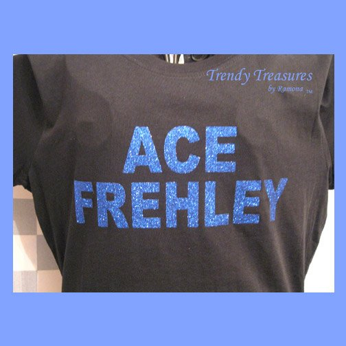 Ace Frehley, Original Design Bling Glitter Embellished T-shirt, New, Ace Frehley, KISS
