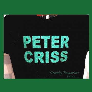 Peter Criss, Original Design Bling Glitter Embellished T-shirt, New, Peter Criss, KISS