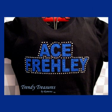 Ace Frehley, Original Design Rhinestones & Glitter Embellished T-shirt,Ace Frehley, KISS