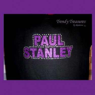 Paul Stanley, Original Design Rhinestones & Glitter Embellished T-shirt, KISS