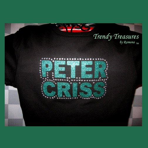 Peter Criss, Original Design Rhinestones & Glitter Embellished T-shirt, KISS