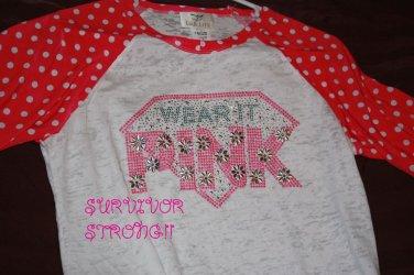 Bling Rhinestone Embellished T-shirt,New,Wear It Pink Design, Breast Cancer