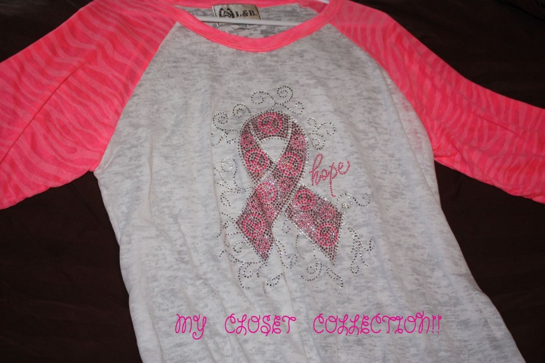 Bling Rhinestone Embellished T-shirt,New,Pink Ribbon Peace Hope Design, Breast Cancer