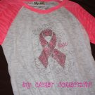 Bling Rhinestone Embellished T-shirt,New,Pink Ribbon Peace Hope Design, Breast Cancer