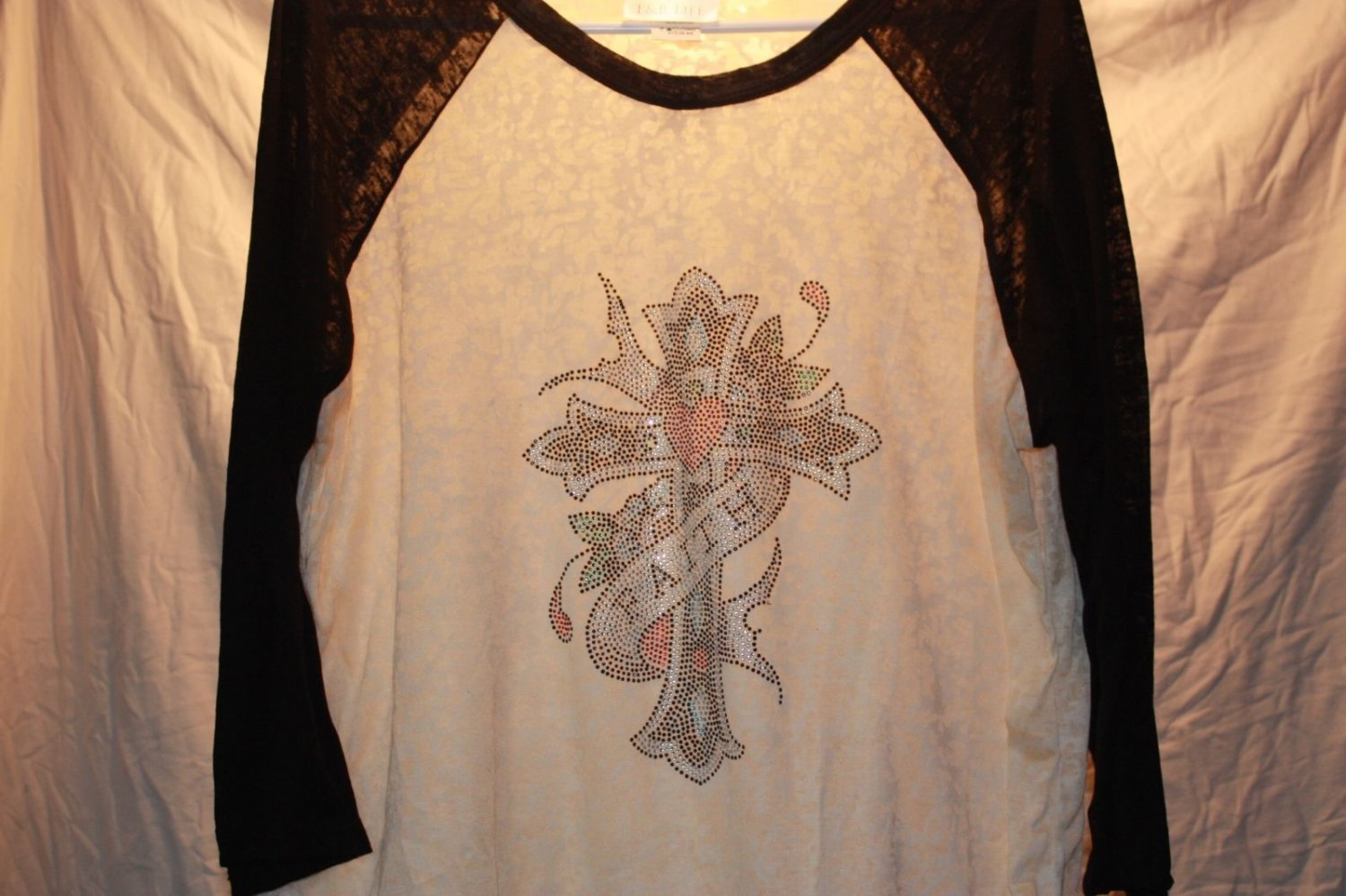 "Ecru and Black Burn-Out with Cross and Ribbon ""Faith"" Flowers, Unique Design"