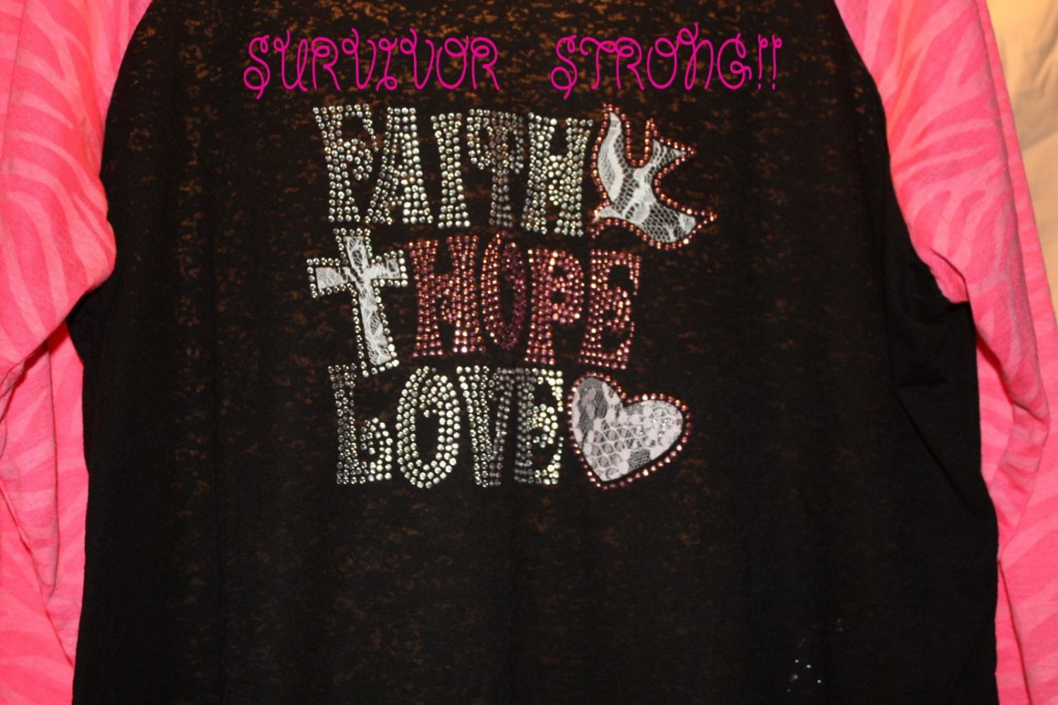 Bling Rhinestone Embellished T-shirt,New,Faith Hope Love Design, Breast Cancer