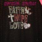 Bling Rhinestone Embellished T-shirt,New,Faith Hope Love Design, Breast Cancer