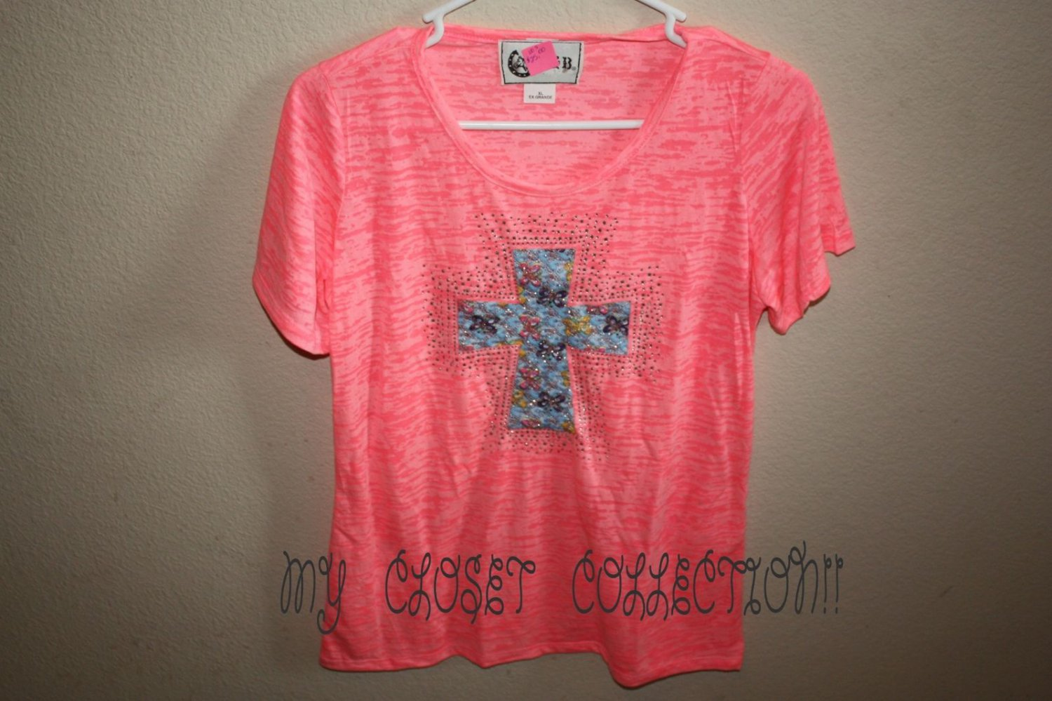 Pink Burn-Out T-shirt, Blinged-out Blue Lace Cross w Butterflies, Exclusive Design