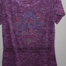 Purple Burn-Out T-shirt, Blinged-out Sugar Skull, Day of the Dead, Exclusive Design