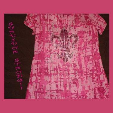 Pink Burn-Out T-shirt, Blinged-out, Fleur de Lis, Exclusive Design
