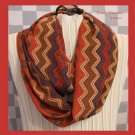 Infinity Scarf, Handmade, Beautiful Rust,Red,Navy,Ecru,ZigZag Pattern, Very Soft