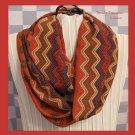 Infinity Scarf, Handmade, Beautiful Rust,Red,Navy,Ecru,ZigZag Pattern, Very Soft