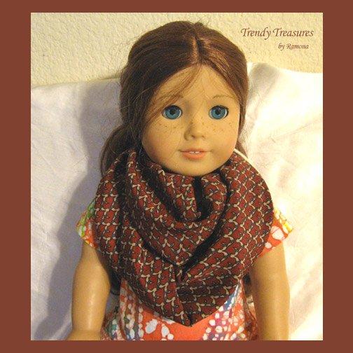 American Girl Infinity Scarf, Handmade, Gorgeous Rust, Tan & Black Highlights