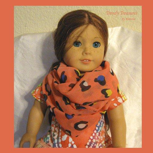 American Girl Infinity Scarf, Handmade,Gorgeous Orange, Blue & Yellow Highlights