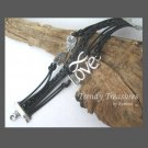Black & Silver Infinity Bracelet,Love Charm,Owls Charms,#TrendyTreasuresByRamona