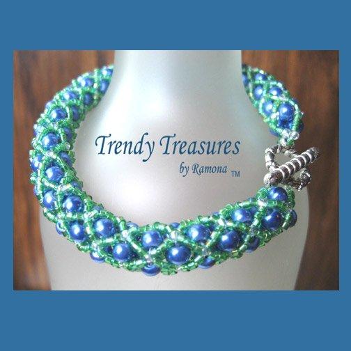 Blue & Green Seattle Seahawks Woven Bracelet,Pearls,Crystals,#TrendyTreasuresByRamona