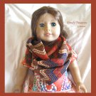 American Girl Infinity Scarf, Handmade, Gorgeous Rust, Red, Navy, Zig Zag Pattern