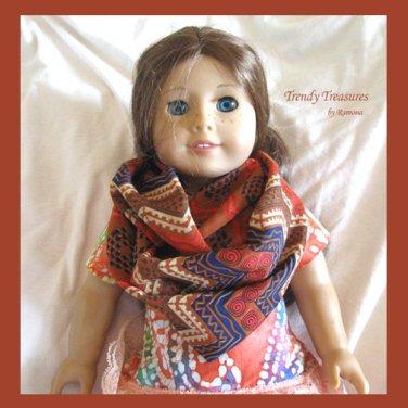 American Girl Infinity Scarf, Handmade, Gorgeous Rust, Red, Navy, Zig Zag Pattern