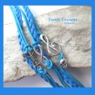Blue Infinity Bracelet, Anchor, Music Note with Skull, Silver, #TrendyTreasuresByRamona