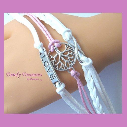 Pink & White Infinity Bracelet, Love Charm, Fertility Tree, Silver, #TrendyTreasuresByRamona