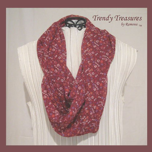 Infinity Scarf, Handmade, Beautiful Marsala,Pantone Color, 2015, Sheer & Soft